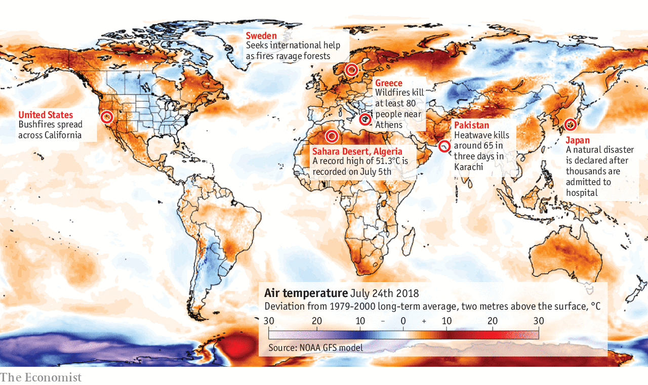 Thermal Map Of The World.Heat Is Causing Problems Across The World The Long Hot Summer