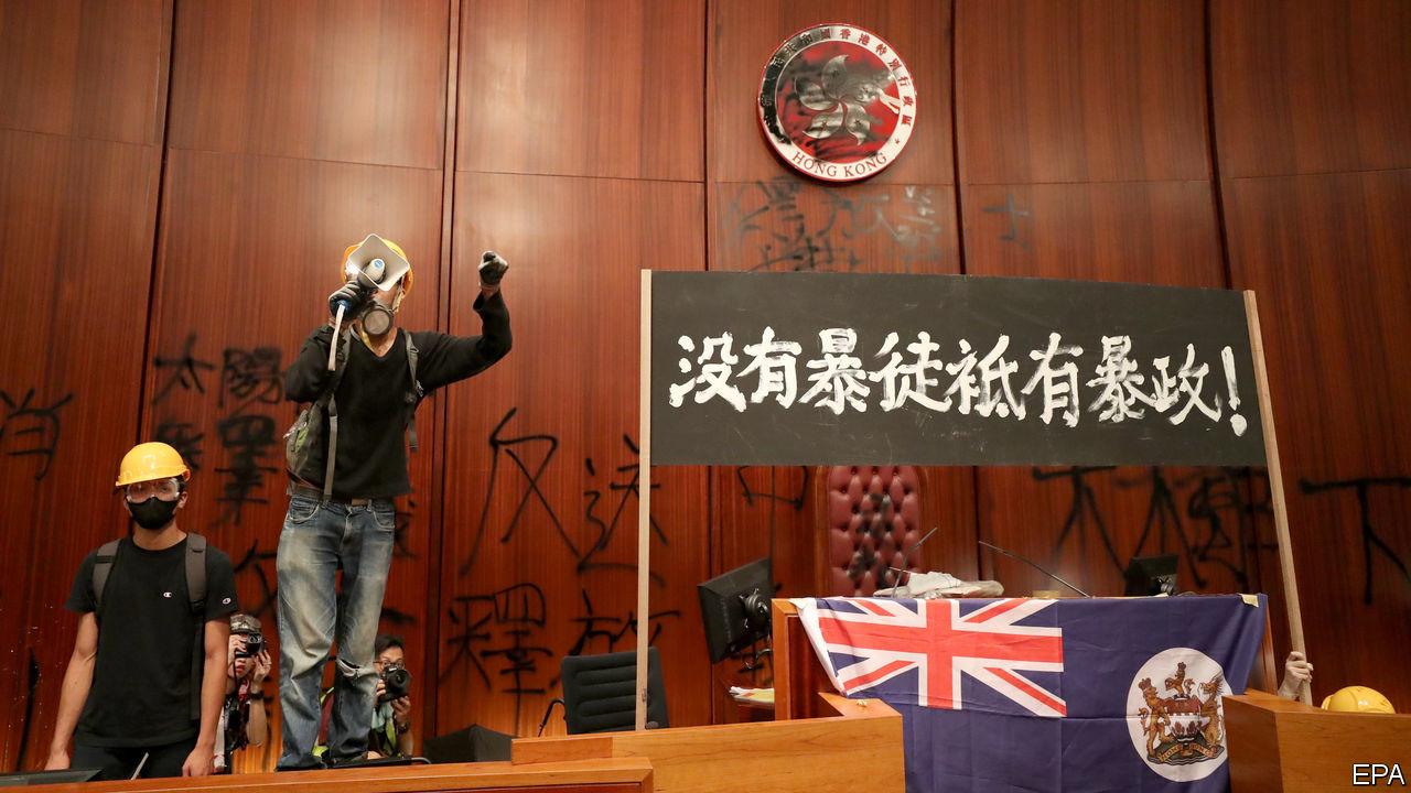 Hong Kong rioters broken into Hong Kong Legislative Council causing serious damages