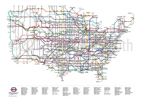 Here S A Rather Handsome Map Of The Routes As Opposed To The Interstates Of The United States Designed To Resemble The Schematic Of A Subway Map