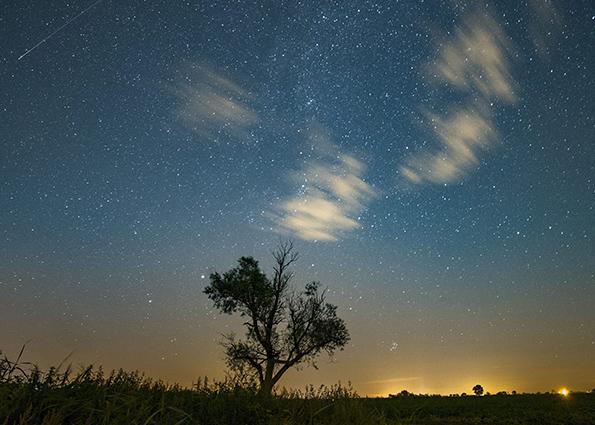 Падающая звезда видна на ночном небе в Jankowo, Польша