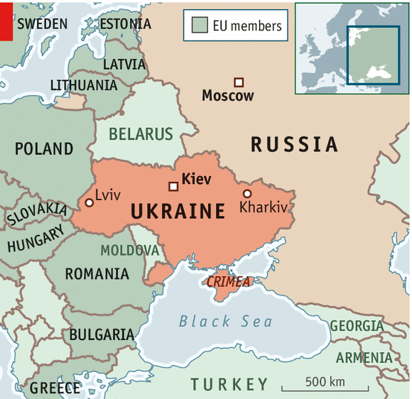 Edging Closer To War - Map ukraine over us