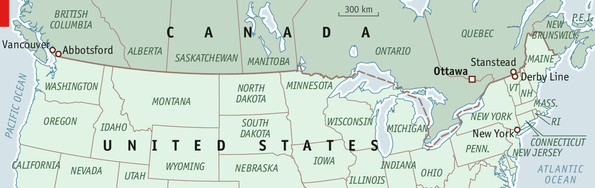 Undefended No More The United StatesCanadian Border - Map us canada border