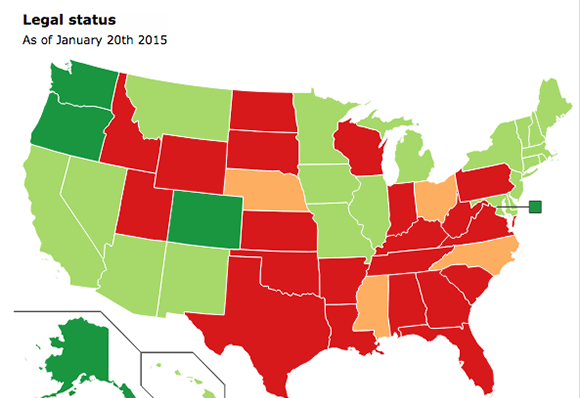 Mapping Marijuana - Us map on weed laws