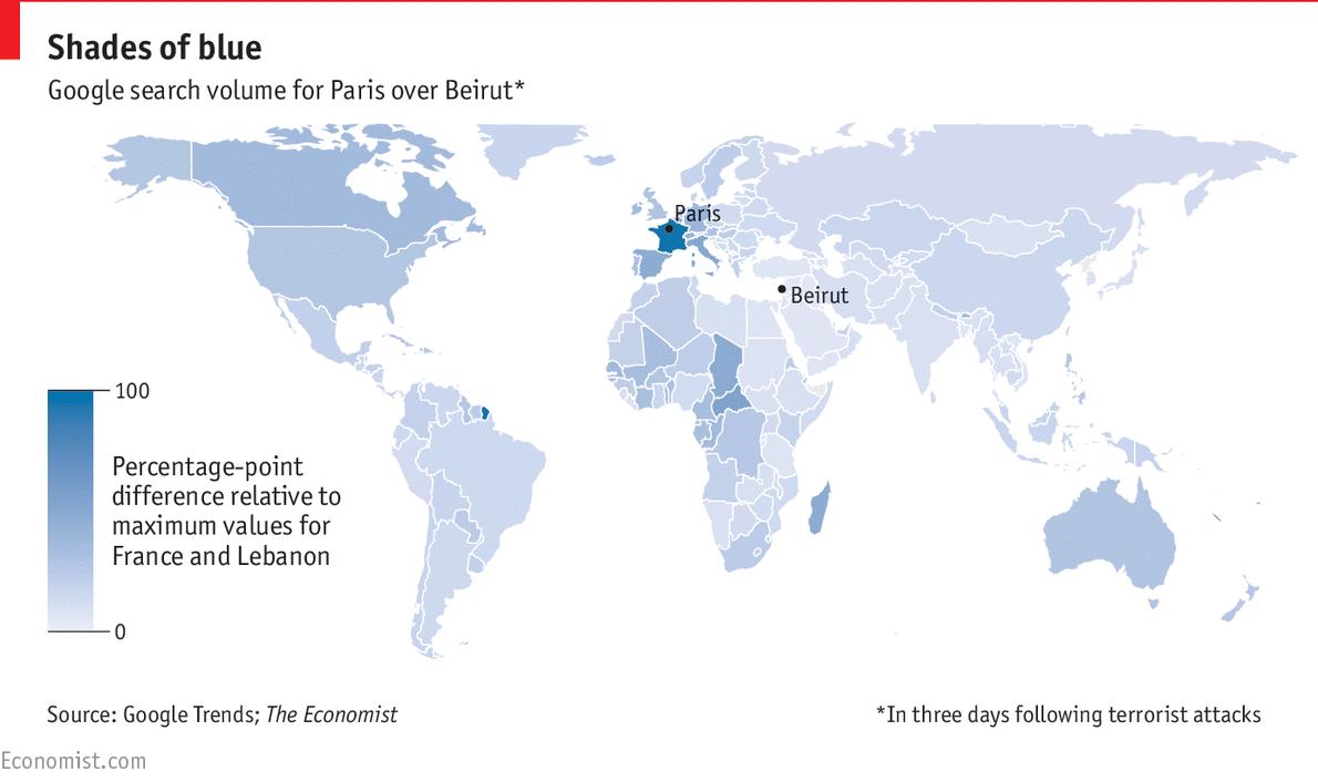 The global empathy gap between Paris and Beirut Daily chart