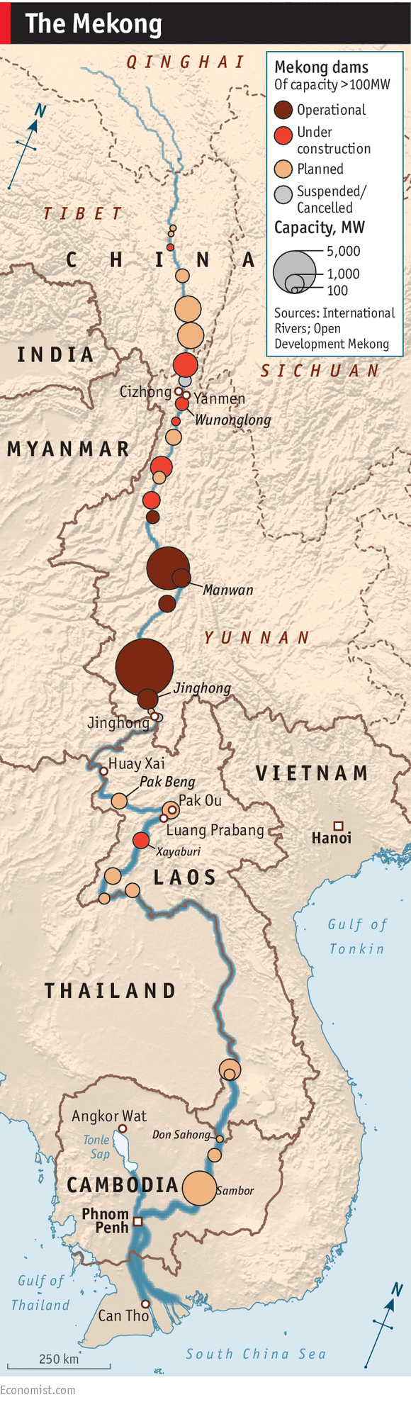 The proliferation of dams along the Mekong river - Daily chart
