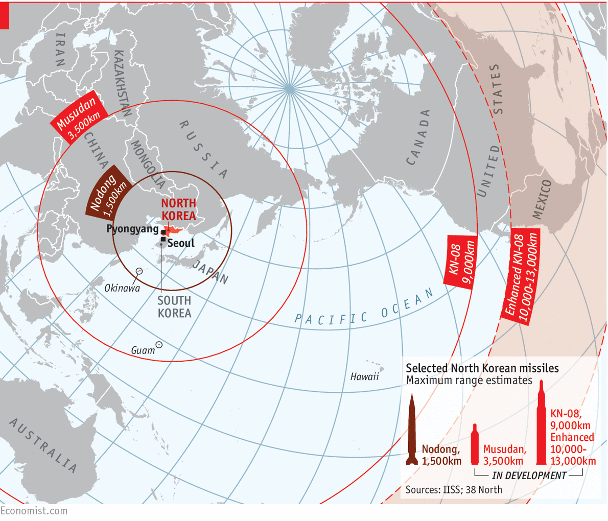 The Clear And Present Danger Of A Nuclear North Korea Daily Chart - Japan map missile
