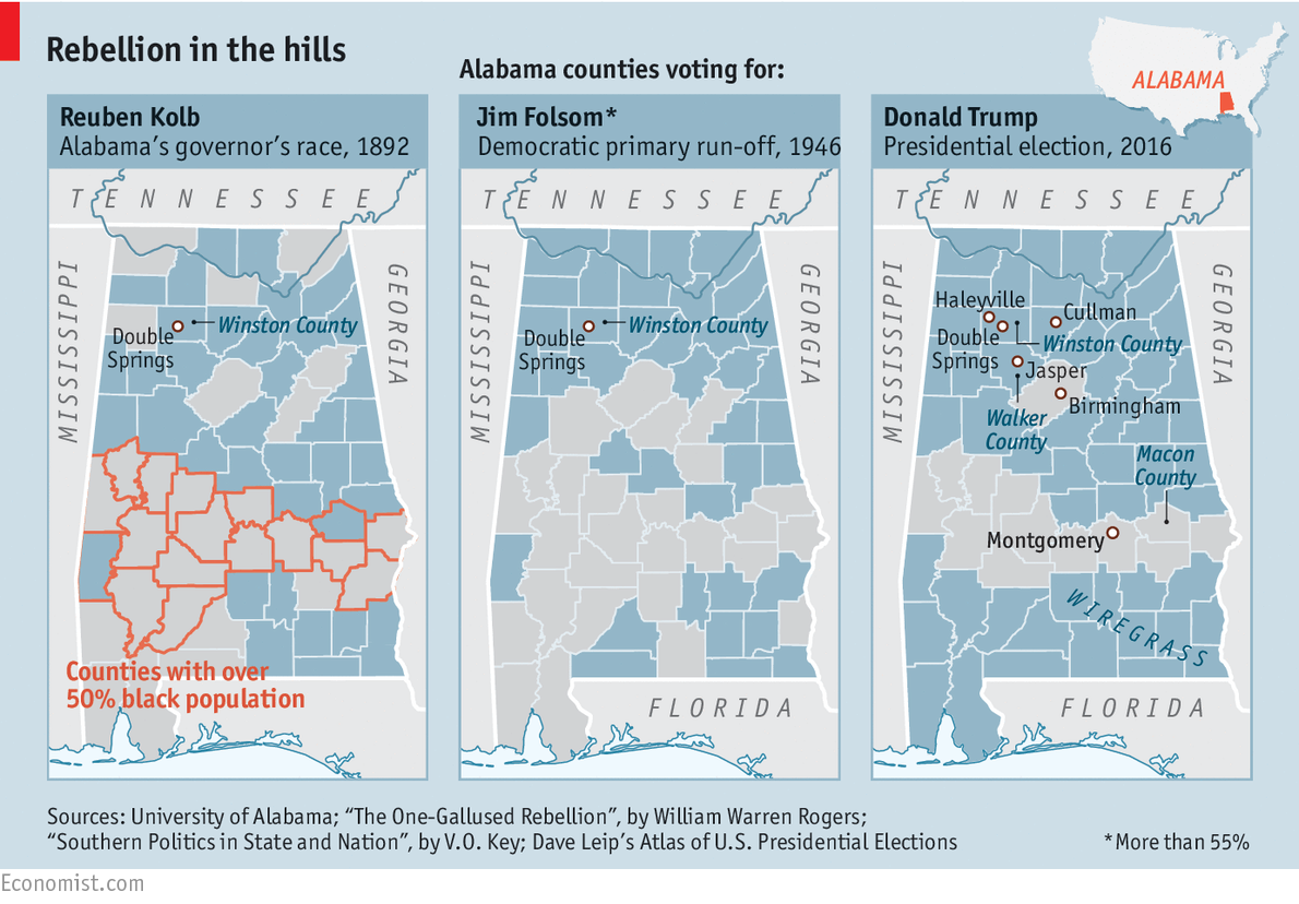 In Alabama support for Donald Trump followed an ancient pattern