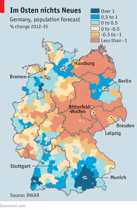 East Germanys population is shrinking Fading echoes