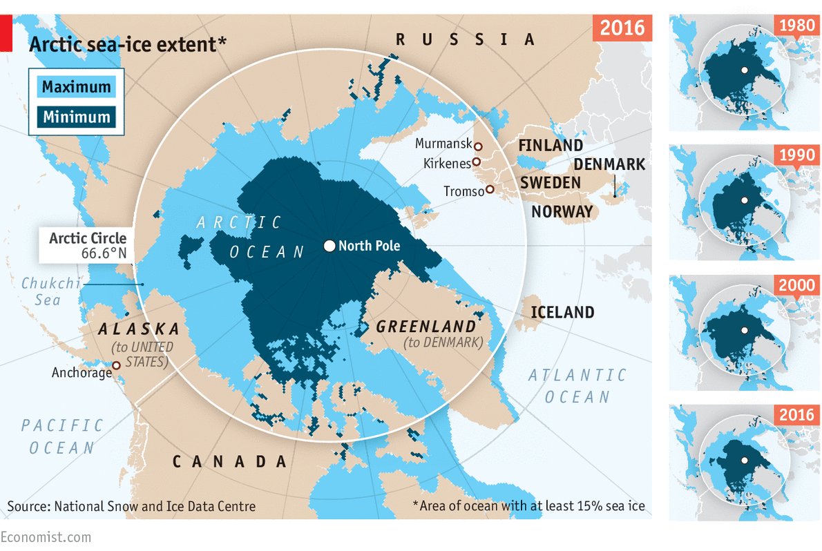 The Decline Of Arctic Sea Ice Daily Chart - Map of arctic circle
