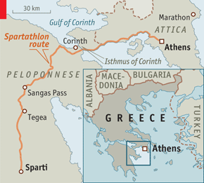 The Lunacy Of The Longdistance Runner The Spartathlon - Map of the distance between athens sparta and the us
