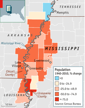 Scratching A Living - Us map of the mississippi river and populatoin