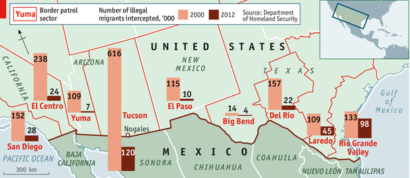 Secure Enough The USMexico Border - Us border fence map