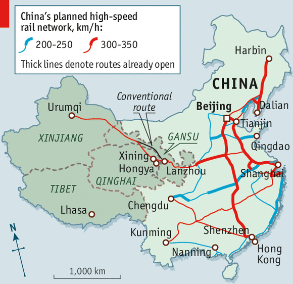 Map Of American High Speed Rail Network Business Insider US - Us map in chinese