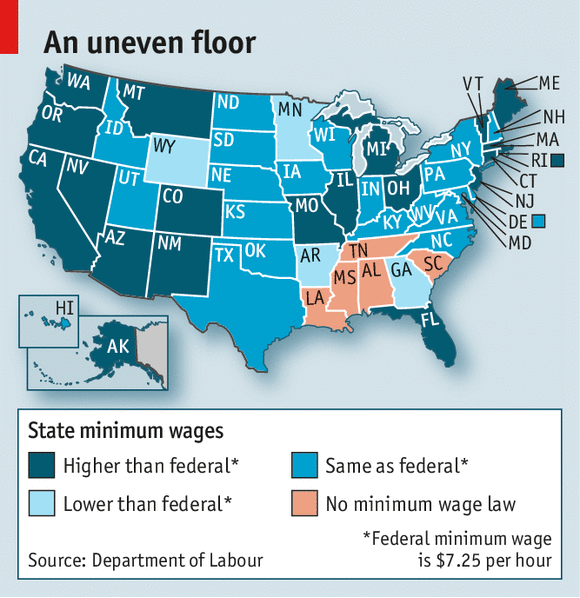Raising The Floor - Minimum wage us map
