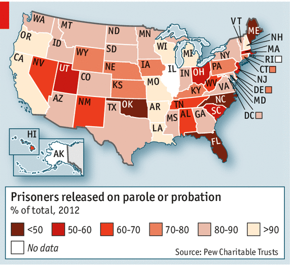 Free But Alone - Us recidivism rate map