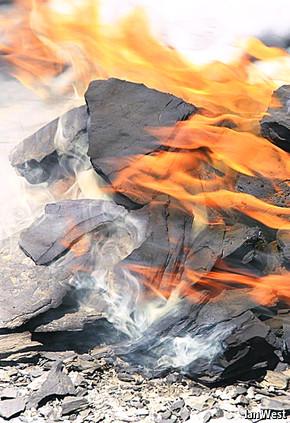 Flaming rocks