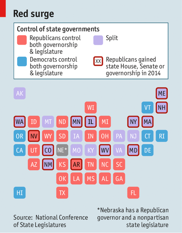 Republicans In Charge - Us map of republican governors