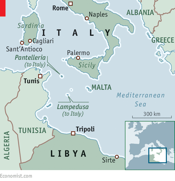 Libya To Italy Map.Fears Over The Sea Italy And Libya