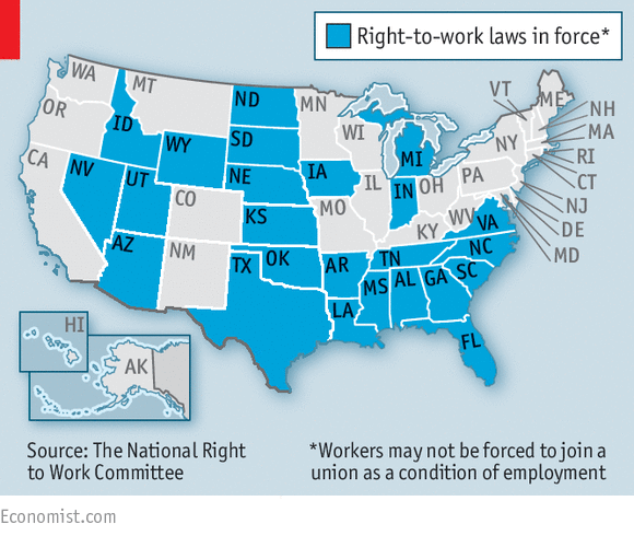 Right To Work States Map 2016.Republicans V Unions Organised Labour And The Law