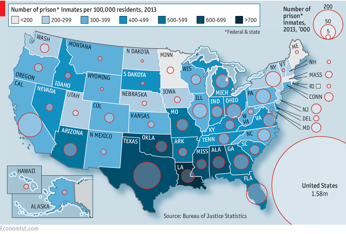 The Right Choices - Us recidivism rate map