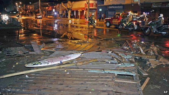 A tsunami strikes