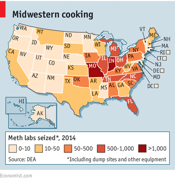 The Heirs Of Al Capone - Us meth use map