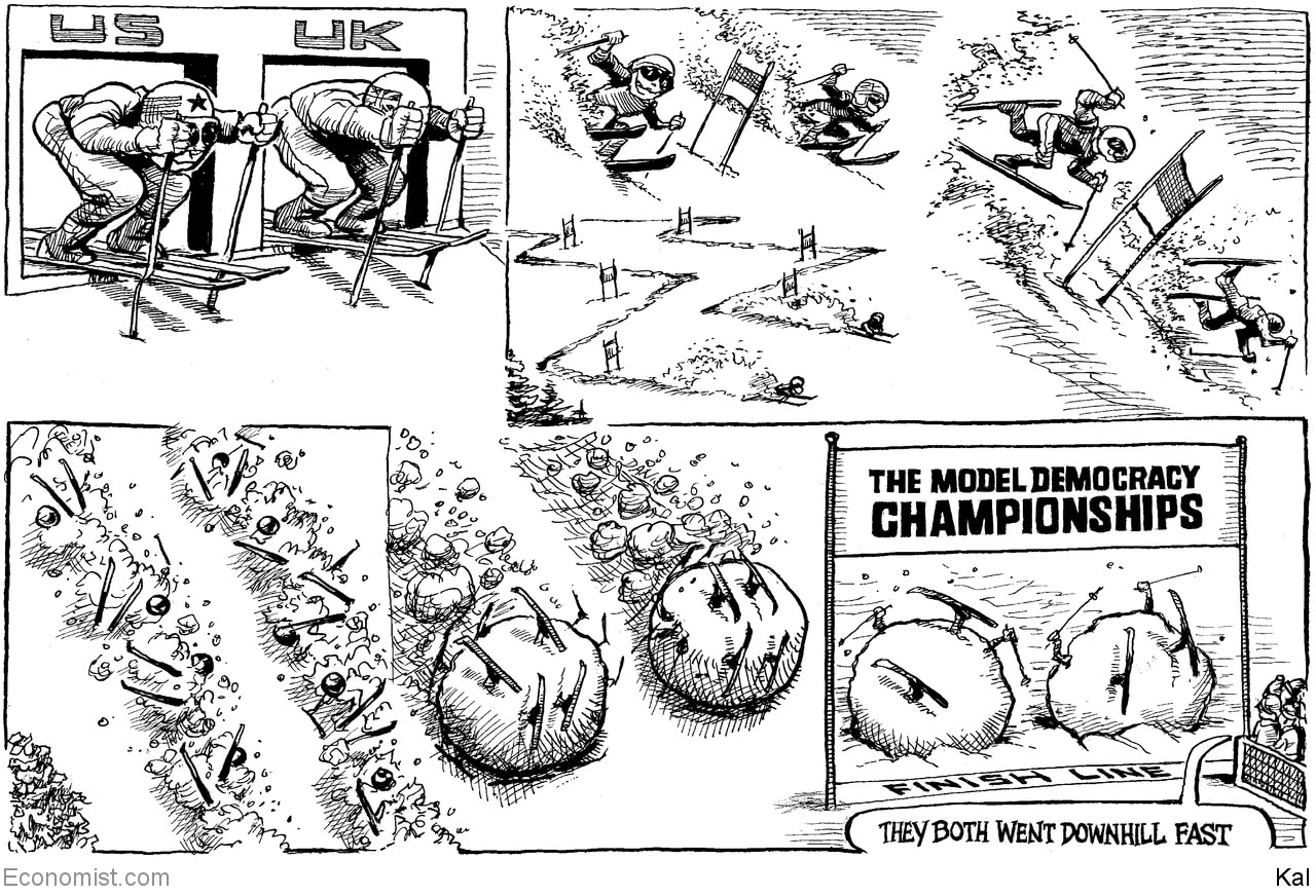 Image result for economist cartoon democracy downhill