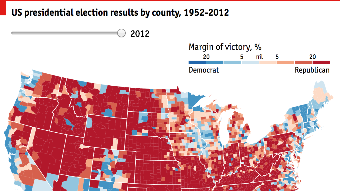 A History Of Red And Blue Daily Chart - Us presidential election red blue map